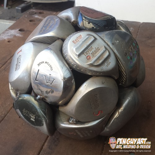Costas_Schuler_Pen_Guy_Art_recycle_metal_art_golf-club-sphere-metal-woods
